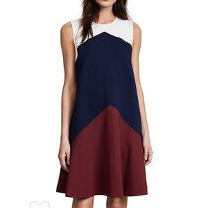 Tory Burch Willa Cordovan Colorblock Trapeze Dress